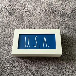 Rae Dunn Blue USA Wooden Sign NWT
